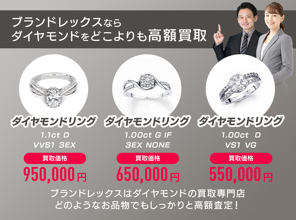 ブランドレックスならダイヤモンドをどこよりも高額買取