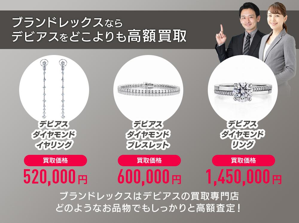 ブランドレックスならデビアスをどこよりも高額買取します。デビアスダイヤモンドリング買取価格1,450,000円